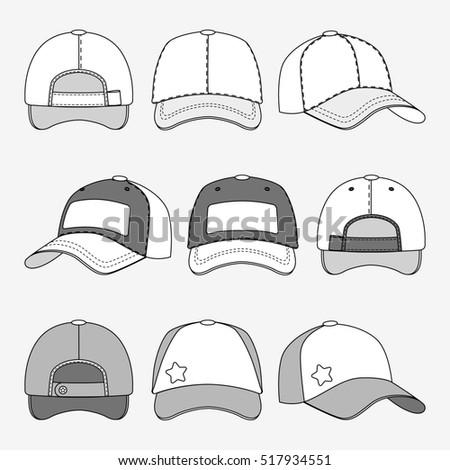 baseball cap front back side view stock illustration 517934551