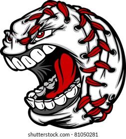 Baseball Cartoon with Screaming Face