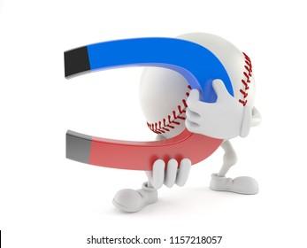 Baseball character holding horseshoe magnet isolated on white background. 3d illustration