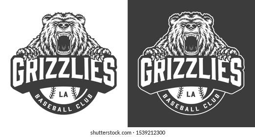 Baseball club ferocious bear mascot logo in vintage monochrome style isolated illustration