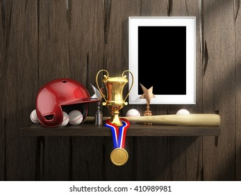 Baseball equipment and empty frame with clipping path on a rustic shelf on the old wood wall background. Items include, helmet, wood bat, ball; frame, gold medal, cup, trophies. 3D illustration.