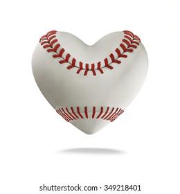 Baseball heart / 3D render of heart shaped baseball