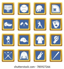 Baseball icons set in blue color isolated  illustration for web and any design
