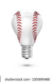 Baseball light bulb / 3D render of light bulb shaped baseball isolated on white background