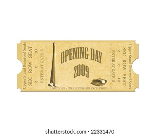 Baseball Opening Day 2009 Ticket on White
