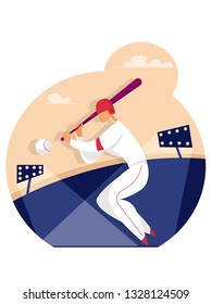 Baseball Player Hit the Ball. Sport concept. Illustration in flat style