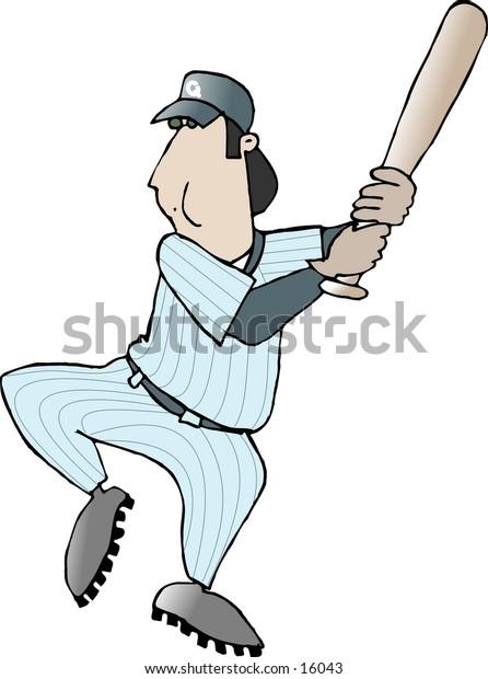 Baseball player swing a bat