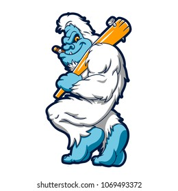 Baseball sasquatch cartoon