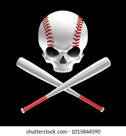 Baseball skull and bats / 3D illustration of skull shaped baseball with crossed baseball bats