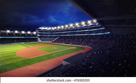 baseball stadium with fans under roof tribune view, sport theme 3D illustration