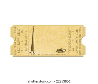 Baseball Ticket on White