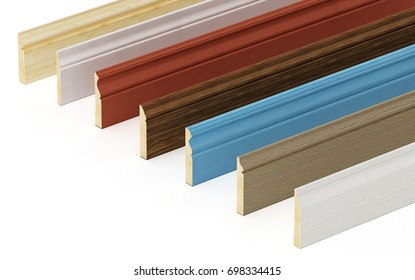 Baseboards with various profiles isolated on white background. 3D illustration.