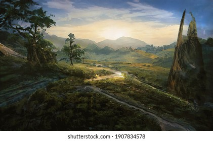Based on the works of Thomas Cole and Frederick Edwin Church. Panoramic view of the valley, rivers and mountains of Tibet. Oil painting landscape. Made with brushstrokes on canvas in a modern style.