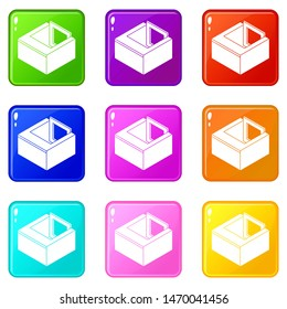 Basement window frame icons set 9 color collection isolated on white for any design
