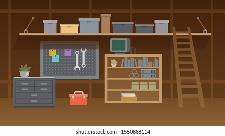Basement Workshop Illustration. Garage or Cellar Indoor Storehouse with Mechanic Equipment Set. Stockroom or Carpentry Workplace with Shelves, Table, Furniture. Cartoon Storage Interior.