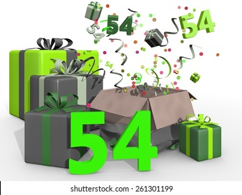 Bash with confetti and gifts for number 54