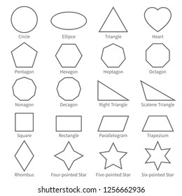 Basic geometric outline flat shapes. Educational geometry diagram for kids