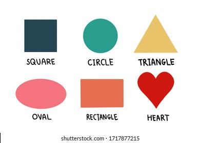 Basic geometric shapes.square, circle, triangle,oval,rectangle,heart.Basic geometric shapes for kids.