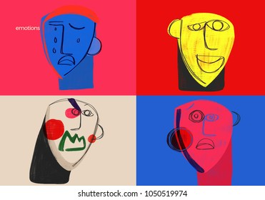 Basic human emotions. Colorful conceptual illustration shows the basic social emotions, anger, joy, fear and sadness. Emotional education.