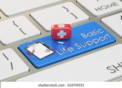Basic Life Support key on keyboard, 3D rendering