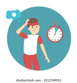 Basic rules of golf play. Man player on the field searching for ball during five minutes. Golf lesson. Flat  illustration