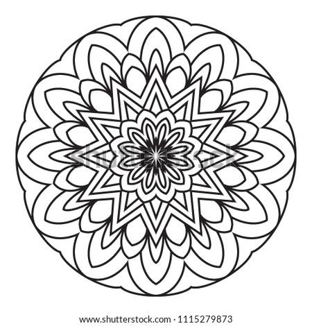 Basic Simple Easy Mandalas Coloring Book Stock Illustration