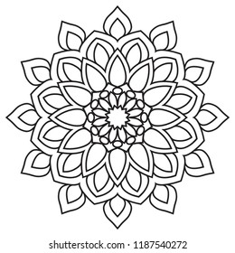 Easy Mandala Basic Simple Mandalas Coloring Stock Illustration