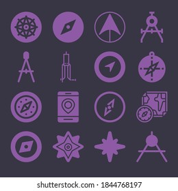 Basic simple modern set of 16 predominantly filled icons such as navigation arrow, compass, compass orientation symbol, smartphone