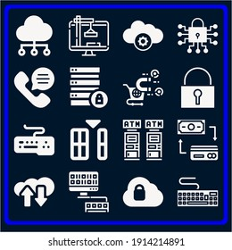 Basic simple modern set of 16 electronic filled icons such as phone call, cloud computing, security, padlock, monitor, database, atm, exchange, keyboard, binary