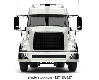 Basic white modern semi trailer truck - front view closeup shot - 3D Illustration