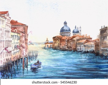 Basilica di Santa Maria della Salute with Canal Grande in Venice, Italy. landscape watercolor painting on watercolor paper texture background