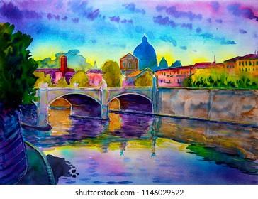 Basilica Sant Pietro, Tiber river and Ponte Vittorio Emanuele, Vatican, Rome, Italy.