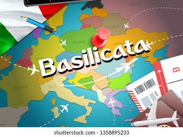 Basilicata city travel and tourism destination concept. Italy flag and Basilicata city on map. Italy travel concept map background. Tickets Planes and flights to Basilicata holidays Italian vacation