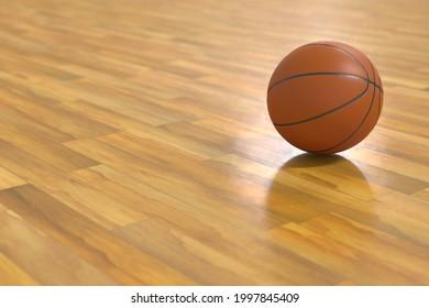 A basket ball on gymnasium floor. 3d render.