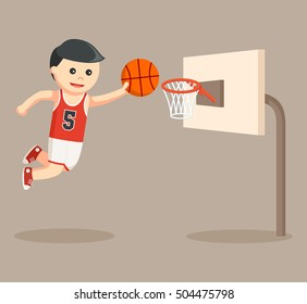 basket ball player shoot the goal