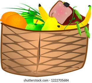 Basket with fresh fruits, greenery and sliced ham with small fly on it. Isolated on white background.