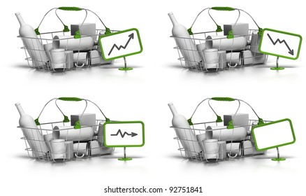 basket with goods inside, a green sign with a chart indicate increase, decrease, or stagnation of the prices, there is also a blank panel for free text, white background