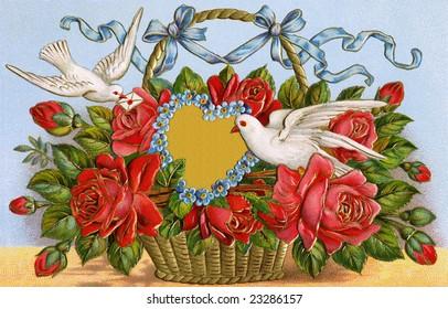 Basket of roses with two doves delivering a Valentine message of love - 1909 vintage greeting card illustration