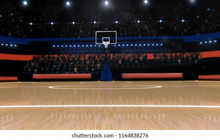 basketball arena with spectators panorama view 3d render