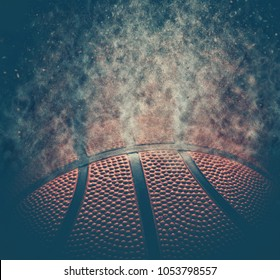 Basketball background. Abstract dark basketball background with copy space.