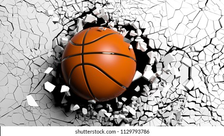 Basketball ball breaking with great force through a white wall. 3d illustration.