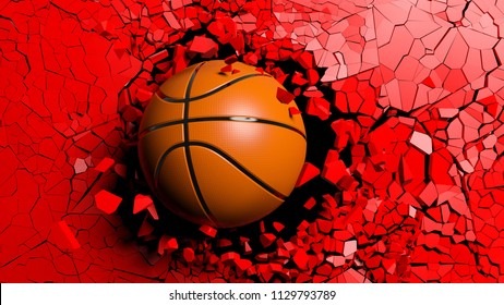 . Basketball ball breaking with great force through a red wall. 3d illustration.