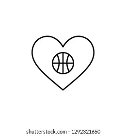 basketball ball heart  icon. Element of Valentine's Day icon for mobile concept and web apps. Detailed basketball ball heart  icon can be used for web and mobile