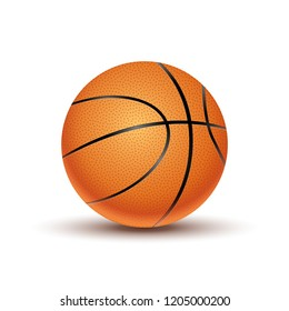 Basketball ball isolated on a white background. Orange basketball play symbol. Sport icon activity.