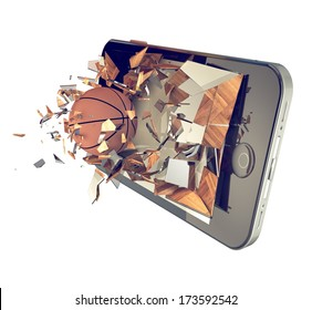 A Basketball ball on cell phone. Broken glass mobile phone with basketball ball. A sport action or app concept