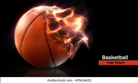 Basketball. Ball and particles. High-resolution image. 3d rendering. Similar images can be found in the portfolio. Thank you for watching
