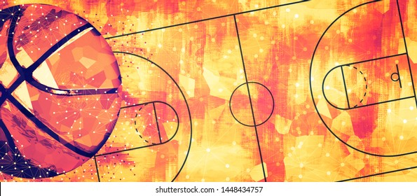 Basketball banner background. Abstract basketball background with copy space.