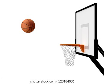 Basketball basket and ball in movement, isolated on white background.
