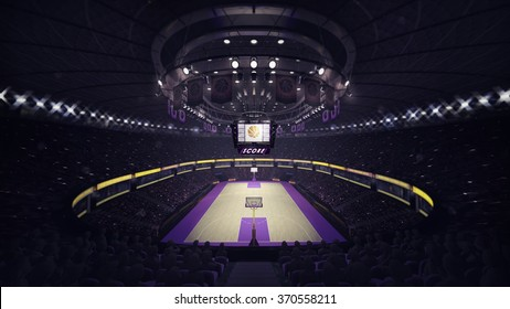 basketball court general front view, sport topic arena interior illustration