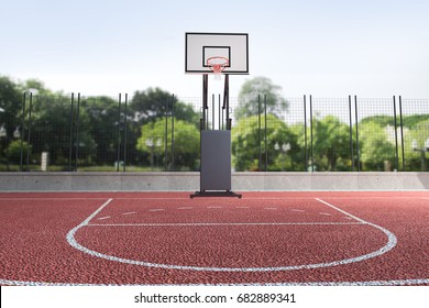 basketball court outdoor with city background, Basketball hoop, concept image for practicing and victory,  3d illustration.